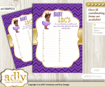 African Princess Baby ABC's Game, guess Animals Printable Card for Baby Princess Shower DIY – Crown