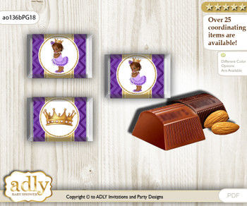 African Princess Chocolate Nuggets Candy Wrapper Label for Baby African Shower  Purple Gold , Crown