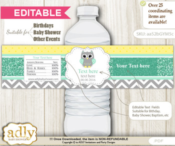 Text Editable Neutral  Owl Water Bottle Label, DIY Personalizable Wrapper Digital File, print at home for any event