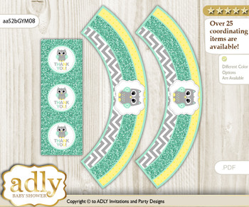 Printable Neutral  Owl Cupcake, Muffins Wrappers plus Thank You tags for Baby Shower Mint Yellow, Chevron