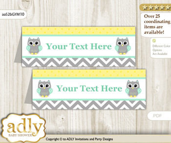 Text Editable Printable Neutral  Owl Buffet Tags or Food Tent Labels  for a Baby Shower or Birthday , Mint Yellow, Chevron