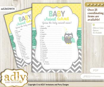 Printable Neutral  Owl Baby Animal Game, Guess Names of Baby Animals Printable for Baby Owl Shower, Mint Yellow, Chevron