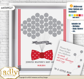 Boy Bow tie Guest Book Alternative for a Baby Shower, Creative Nursery Wall Art Gift, Red Grey, Polka