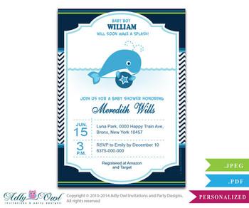 Boy Whale Invitation for Baby Shower, Squirt Boy Printable Card. Nautical Chevron baby blue,navy, green whale diy digital card