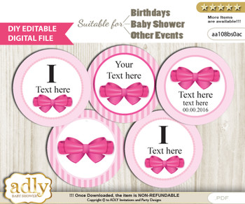 Text Editable Girl Bow Cupcake Toppers Digital File, DIY print at home, suitable for birthday, baby shower, baptism n