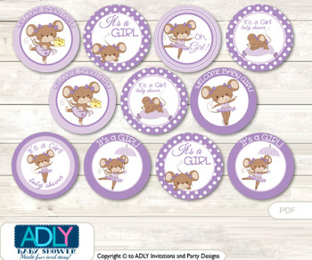 Baby Shower GirlMouseCupcake Toppers Printable File for Little Girl and Mommy-to-be, favor tags, circle toppers, Purple, Polka