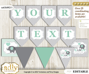 Personalizable Boy Elephant Printable Banner for Baby Shower, Mint Grey, Chevron