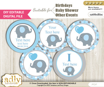 Text Editable Boy Peanut Cupcake Toppers Digital File, DIY print at home, suitable for birthday, baby shower, baptism