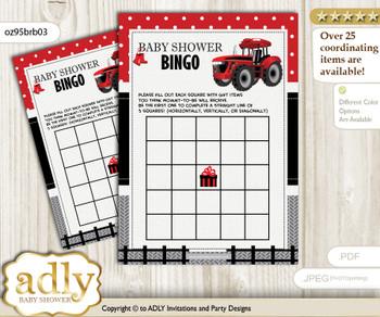 Printable Red Black Tractor Bingo Game Printable Card for Baby Boy Shower DIY grey, Red Black, Farmer