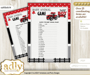 Printable Boy Tractor Baby Animal Game, Guess Names of Baby Animals Printable for Baby Tractor Shower, Red Black, Farmer
