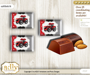 Boy Tractor Chocolate Nuggets Candy Wrapper Label for Baby Boy Shower  Red Black , Farmer