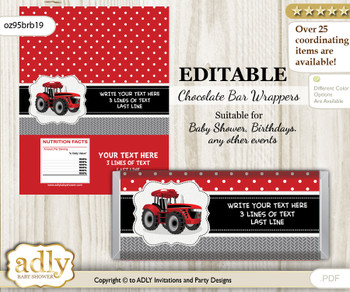 Personalizable Boy Tractor Chocolate Bar Candy Wrapper Label for Boy  baby shower, birthday Red Black , editable wrappers