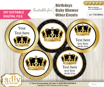 Text Editable Royal King Cupcake Toppers Digital File, DIY print at home, suitable for birthday, baby shower, baptism