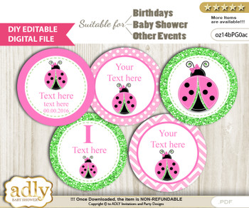 Text Editable Cute Ladybug Cupcake Toppers Digital File, DIY print at home, suitable for birthday, baby shower, baptism