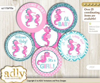 Baby Shower Girl Seahorse Cupcake Toppers Printable File for Little Girl and Mommy-to-be, favor tags, circle toppers, Glitter, Pink teal