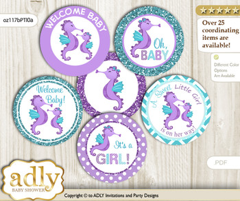 Baby Shower Girl Seahorse Cupcake Toppers Printable File for Little Girl and Mommy-to-be, favor tags, circle toppers, Summer, Purple Teal