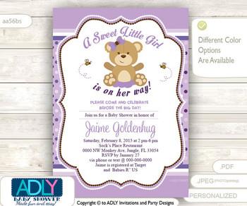 CPurple Teddy Bear Girl Baby Shower Invitation card, A sweet Little Girl is on her way, lavander, polka,girl bear