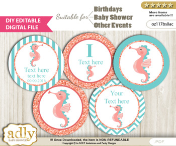 DIY Text Editable Baby Seahorse Cupcake Toppers Digital File, print at home, suitable for birthday, baby shower, baptism