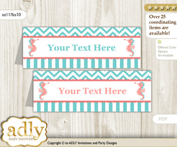 DIY Text Editable Printable Baby Seahorse Buffet Tags or Food Tent Labels  for a Baby Shower or Birthday , Coral, Turquoise