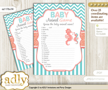 Printable Baby Seahorse Baby Animal Game, Guess Names of Baby Animals Printable for Baby Seahorse Shower, Coral, Turquoise
