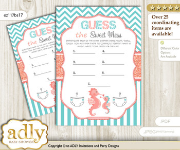 Baby Seahorse Dirty Diaper Game or Guess Sweet Mess Game for a Baby Shower Coral, Turquoise