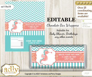 DIY Personalizable Baby Seahorse Chocolate Bar Candy Wrapper Label for Baby  baby shower, birthday Coral , editable wrappers