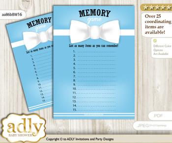 Boy Bow tie Memory Game Card for Baby Shower, Printable Guess Card, Blue White, Man