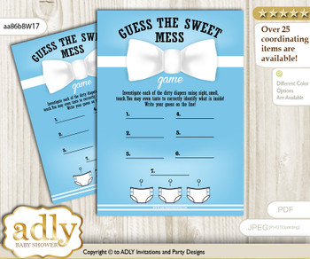 Boy Bow tie Dirty Diaper Game or Guess Sweet Mess Game for a Baby Shower Blue White, Man