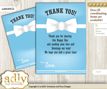 Boy  Bow tie Thank you Cards for a Baby Boy Shower or Birthday DIY Blue White, Man