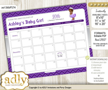 DIY African Princess Baby Due Date Calendar, guess baby arrival date game