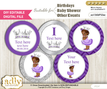 DIY Text Editable African Princess Cupcake Toppers Digital File, print at home, suitable for birthday, baby shower, baptism