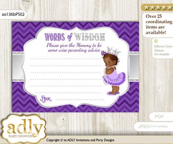 Purple Silver African Princess Words of Wisdom or an Advice Printable Card for Baby Shower, Chevron