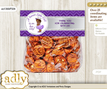 Printable African Princess Treat or Goodie bag Toppers for Baby African Shower or Birthday DIY Purple Silver, Chevron
