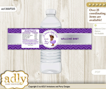 African Princess Water Bottle Wrappers, Labels for a Princess  Baby Shower, Purple Silver, Chevron
