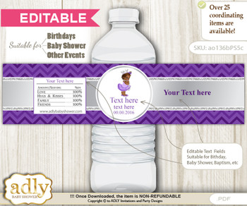 DIY Text Editable African Princess Water Bottle Label, Personalizable Wrapper Digital File, print at home for any event