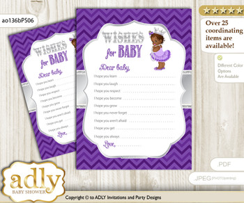 African Princess Wishes for a Baby, Well Wishes for a Little Princess Printable Card, Chevron, Purple Silver