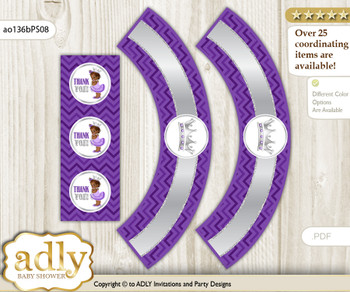 Printable African Princess Cupcake, Muffins Wrappers plus Thank You tags for Baby Shower Purple Silver, Chevron