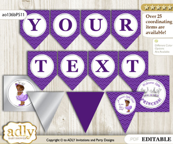 DIY Personalizable African Princess Printable Banner for Baby Shower, Purple Silver, Chevron