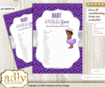 Printable African Princess Baby Animal Game, Guess Names of Baby Animals Printable for Baby Princess Shower, Purple Silver, Chevron