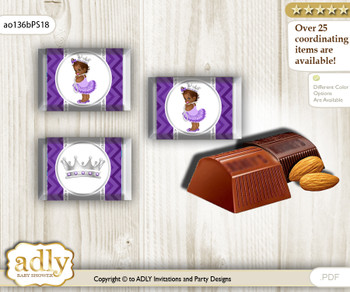 African Princess Chocolate Nuggets Candy Wrapper Label for Baby African Shower  Purple Silver , Chevron