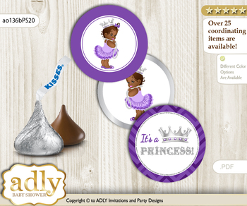 Printable  African Princess Candy Kisses for Baby African Shower DIY Purple Silver , Chevron