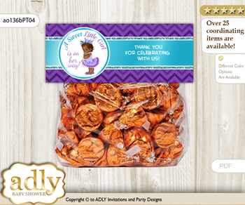 Printable African Princess Treat or Goodie bag Toppers for Baby African Shower or Birthday DIY Purple Teal, Chevron