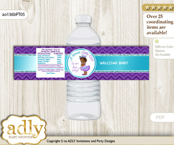 African Princess Water Bottle Wrappers, Labels for a Princess  Baby Shower, Purple Teal, Chevron