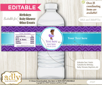 DIY Text Editable African Princess Water Bottle Label, Personalizable Wrapper Digital File, print at home for any event nn