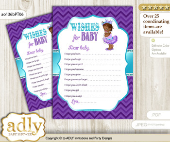 African Princess Wishes for a Baby, Well Wishes for a Little Princess Printable Card, Chevron, Purple Teal