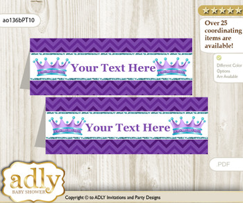 DIY Text Editable Printable African Princess Buffet Tags or Food Tent Labels  for a Baby Shower or Birthday , Purple Teal, Chevron