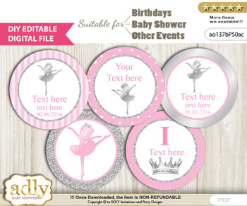 DIY Text Editable Ballet Ballerina Cupcake Toppers Digital File, print at home, suitable for birthday, baby shower, baptism