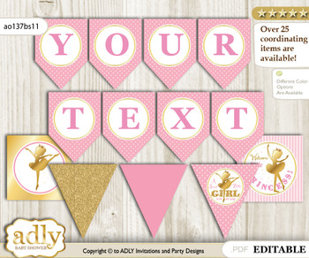 DIY Personalizable Ballet Ballerina Printable Banner for Baby Shower, Pink Gold, Polka