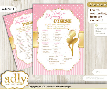 Ballet Ballerina What is in Mommy's Purse, Baby Shower Purse Game Printable Card , Pink Gold,  Polka