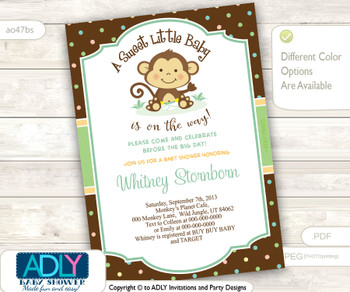 Gender Neutral, Unisex Monkey Shower Invitation for Baby to Arrive